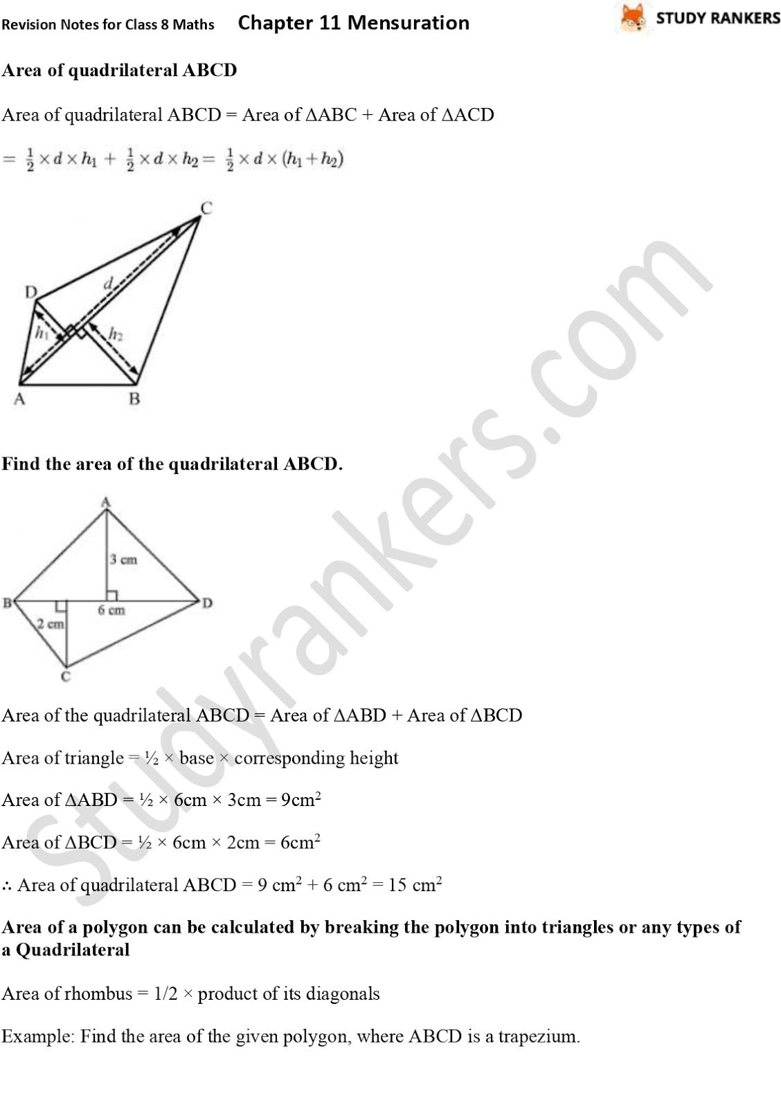 CBSE Revision Notes for Class 8 Chapter 11 Mensuration Part 2