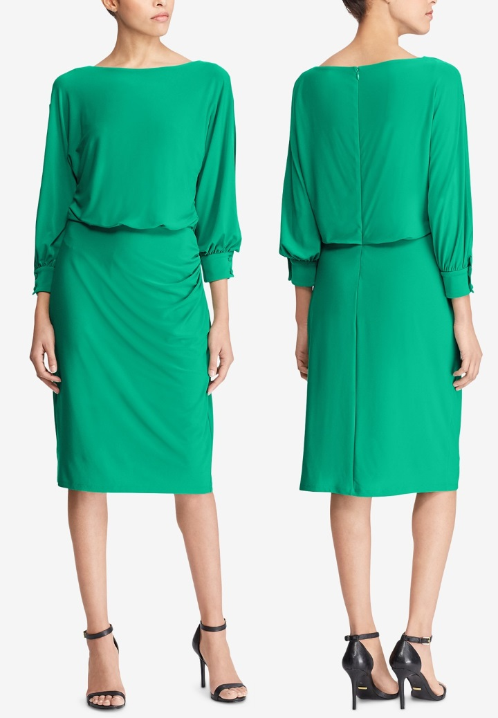 2eb355f52 The piece is on sale in emerald green and navy for $93 at Macys. Meghan's  dress is a bespoke piece - it is more fitted and has belt loops.