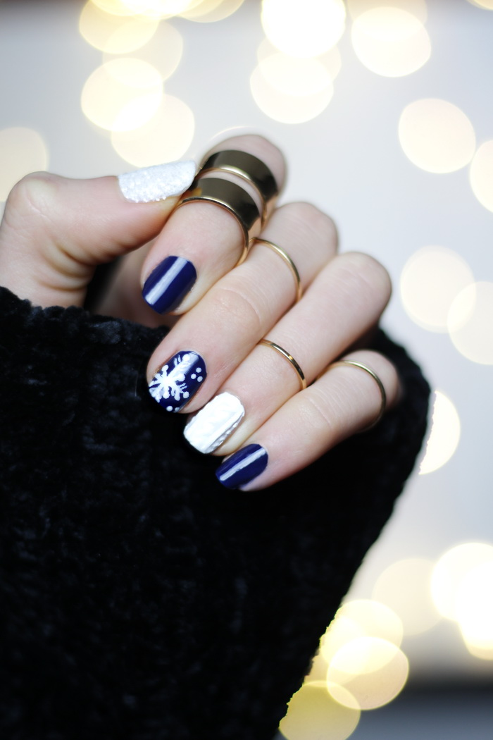 Winter Nageldesign für kurze Nägel