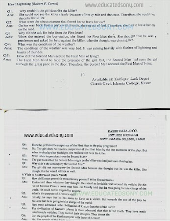 11 Class English Notes Book 1(1st year,textbook,FSC/ICS,F A