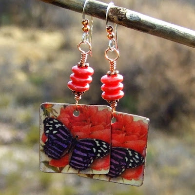 butterfly and red rose jewelry for women