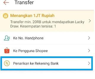 Mengirim Shoppeepay ke BANK