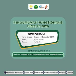 PENGUMUMAN FUNGSIONARIS HIMA PENDIDIKAN EKONOMI 2020