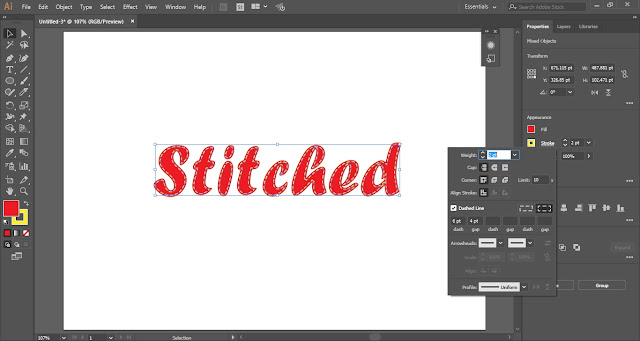 Stitched Text Effect in Adobe Illustrator