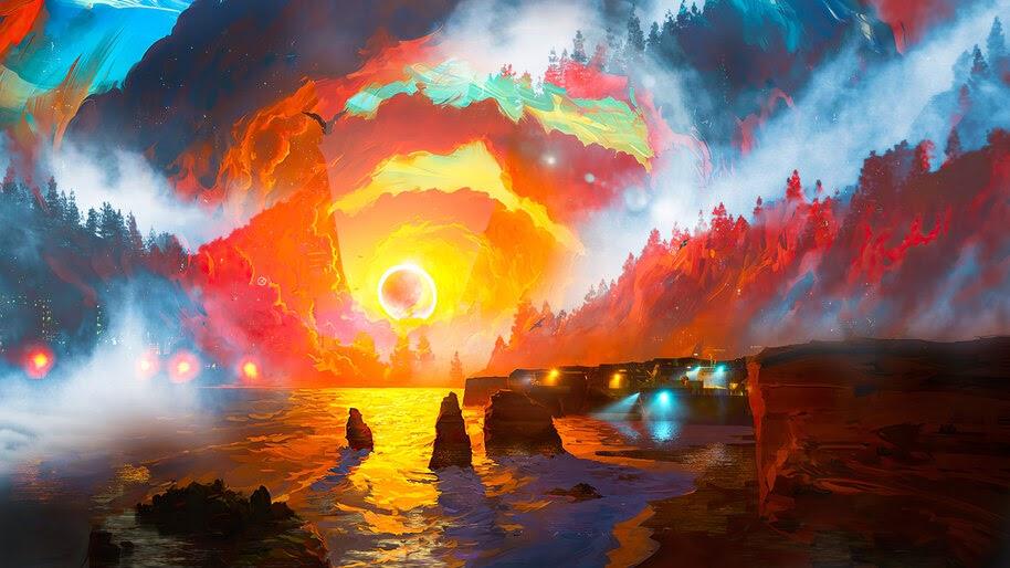Sunset, Sea, Scenery, Digital Art, Scenery, 4K, #6.1265
