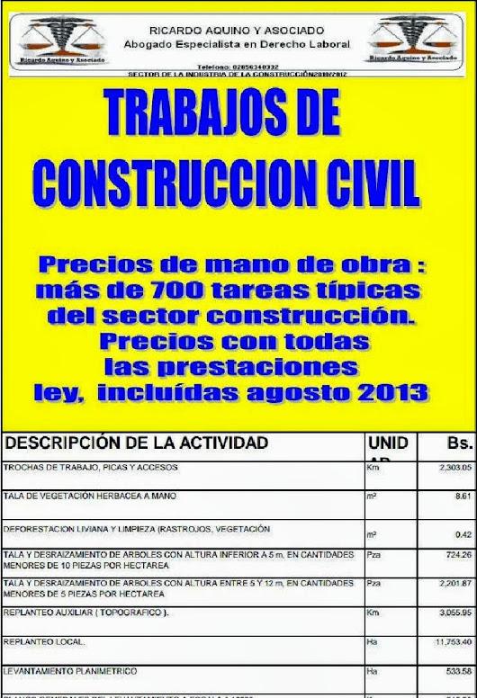 Tabulador precios mano de obra sector construccion agosto for Precio mano de obra construccion