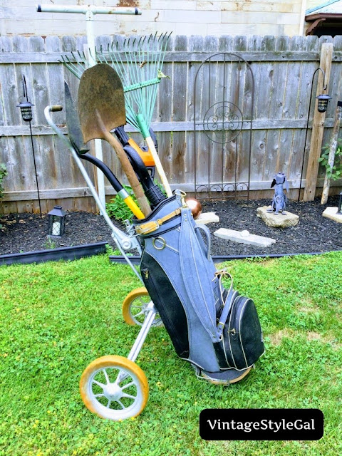 Golf bag and caddie in front of flower beds
