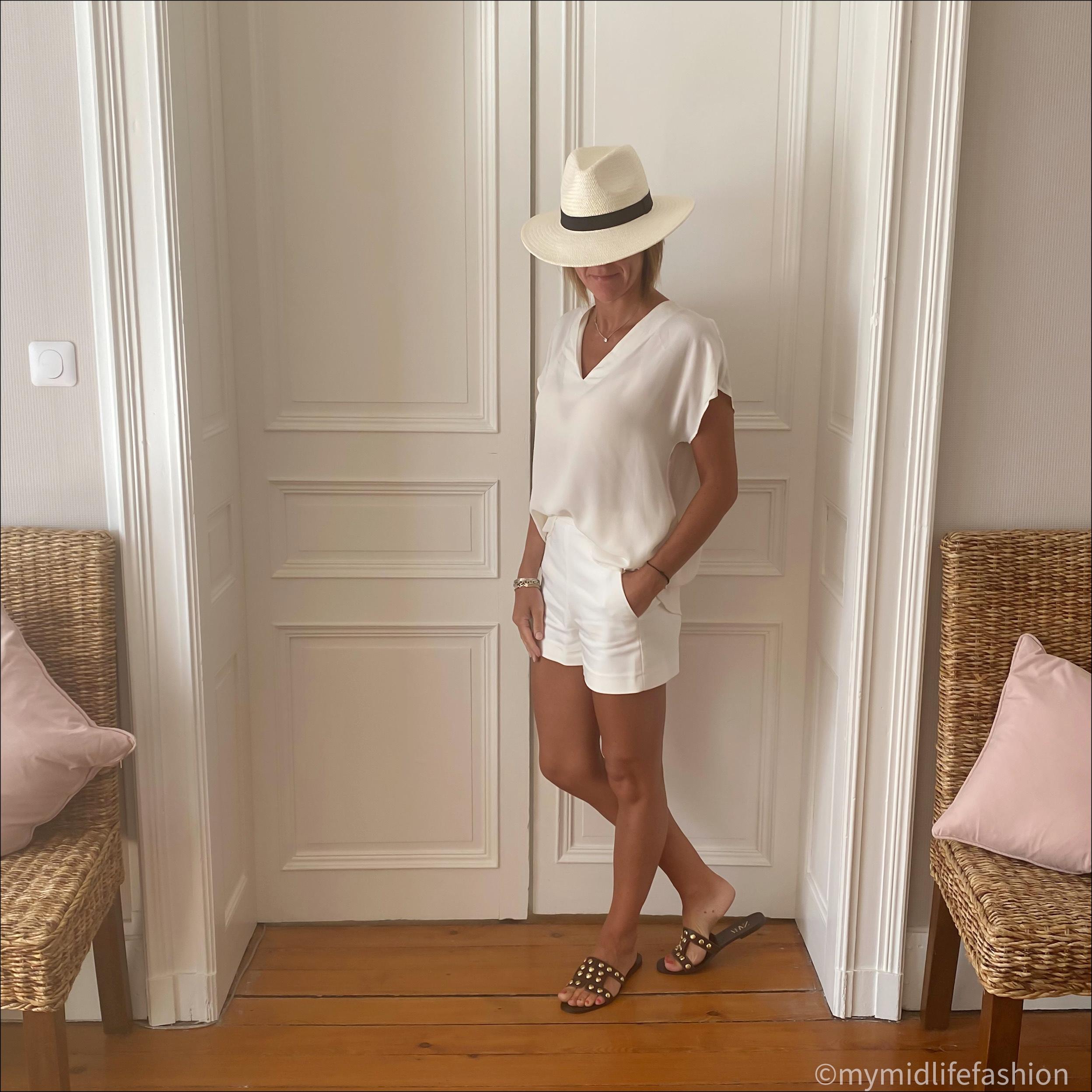 my midlife fashion, Alexis silk top, zara Panama, zara shorts, zara flat leather studded sandals