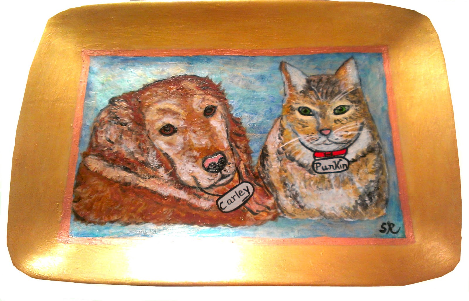 hand painted dog and cat platter