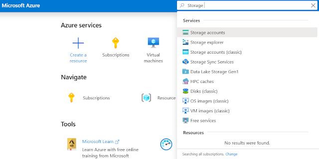 Azure portal Storage account creation