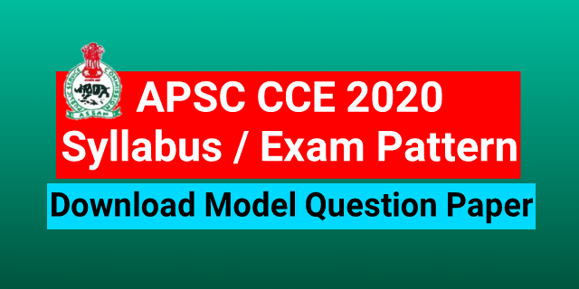 APSC CCE Model Question papers 2020