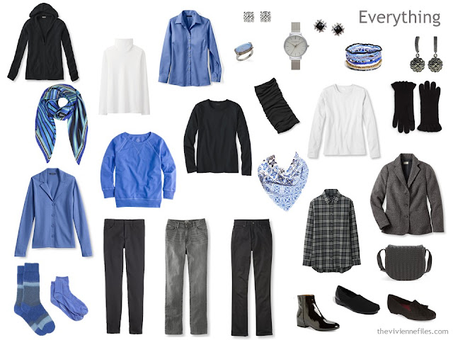 A Winter Travel Capsule Wardrobe in Black, Blue and White