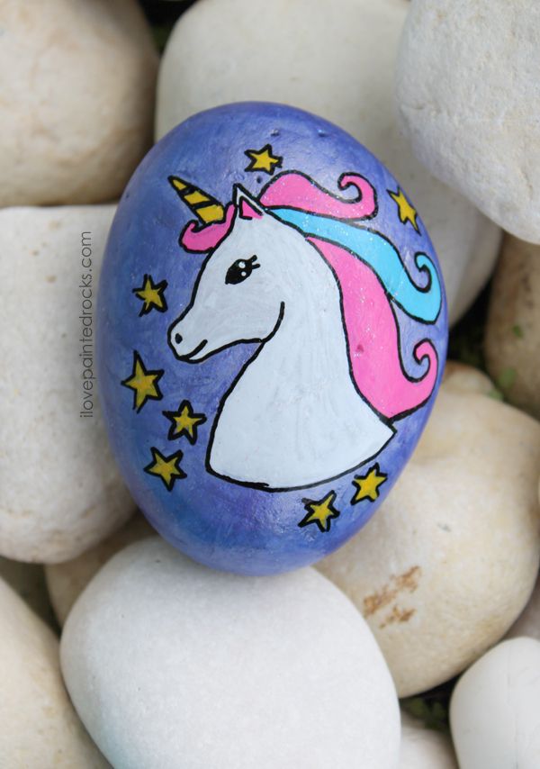 Unicorn painted rock