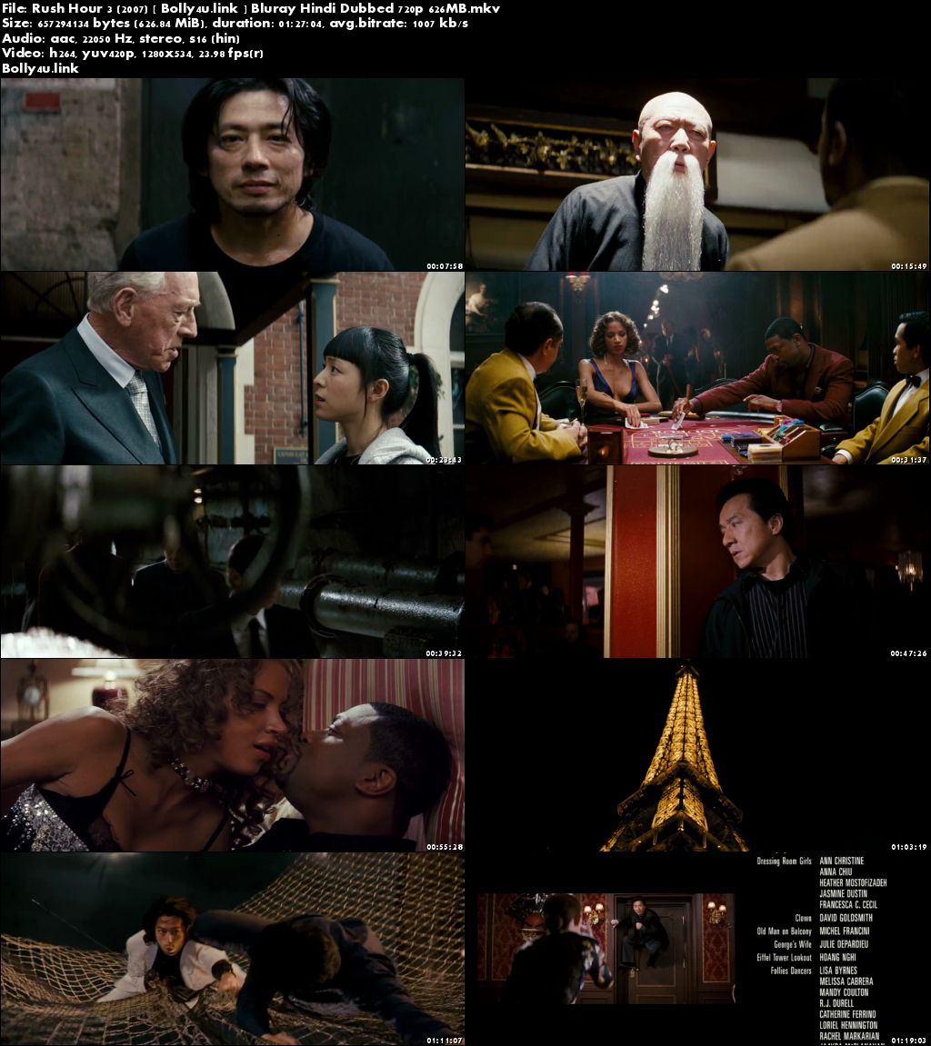 Rush Hour 3 2007 BluRay 250MB Hindi Dubbed 480p Download