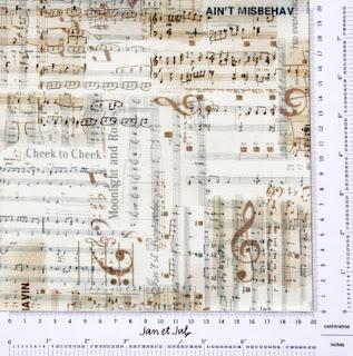 Tela patchwork con motivos musicales