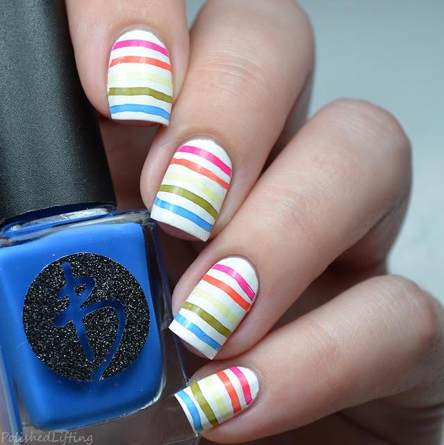 rainbow stripe stamped nail art