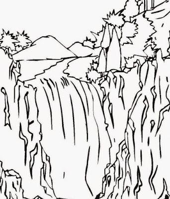 Sketsa Mewarnai Gambar Pemandangan Air Terjun