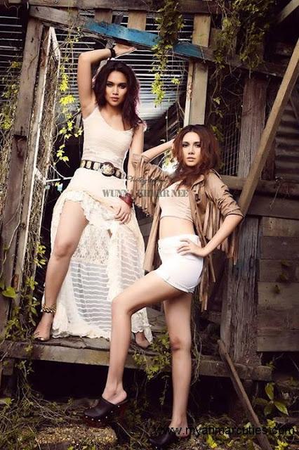 Aye Myat Thu & May with modern fashion