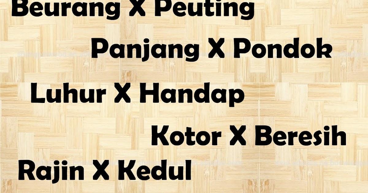 Contoh Kata Kata Antonim dalam Bahasa Sunda dan Penerapan dalam Kalimat