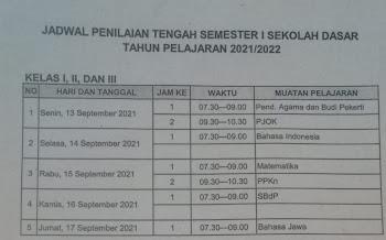 Jadwal Penilaian Tengah Semester I TP 2021/2022