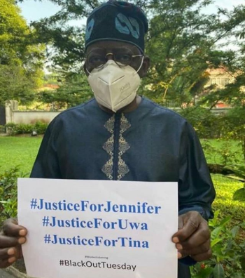 Bola Tinubu joins the campaign for justice for Uwa, Tina and Jennifer