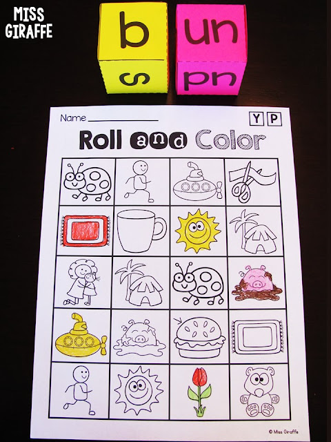 Short U CVC words game and so many cute word rolls!
