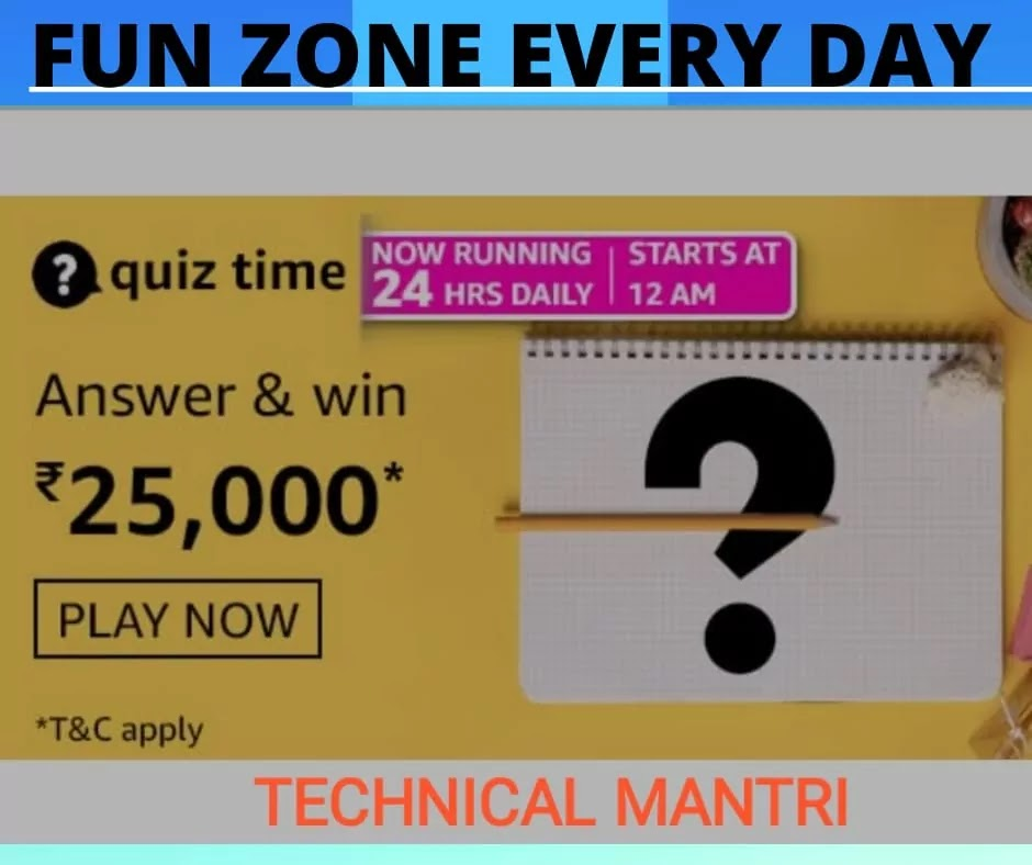 Amazon Quiz answers today for 3rd  April 2021 : Win 25000