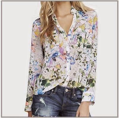 White floral portofino shirt