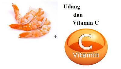 Jika anda mengkonsumsi udang kemudian setelahnya minum vitamin C adalah ide yang sangat buruk, bisa fatal akibatnya, dalam waktu beberapa menit anda akan merasa keracunan dengan gejala muntah-muntah hingga kondisi terburuk menimbulkan kematian seketika. serius !