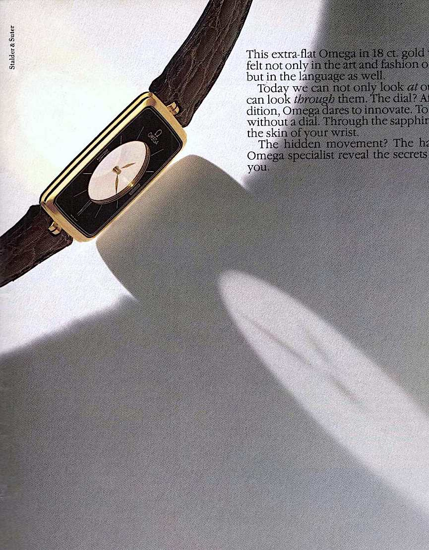 a 1982 Omega clear face wristwatch, color photograph advertisement