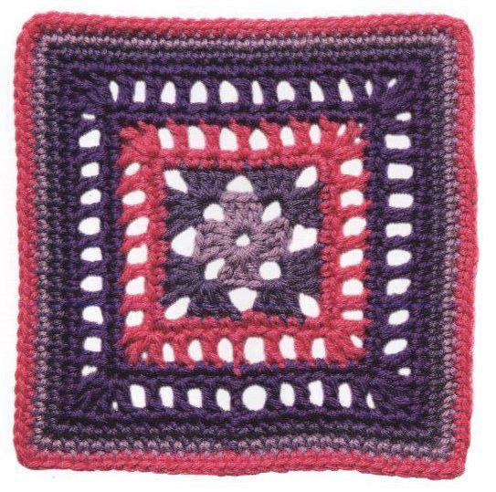 Carpetita lila y rosa a Crochet