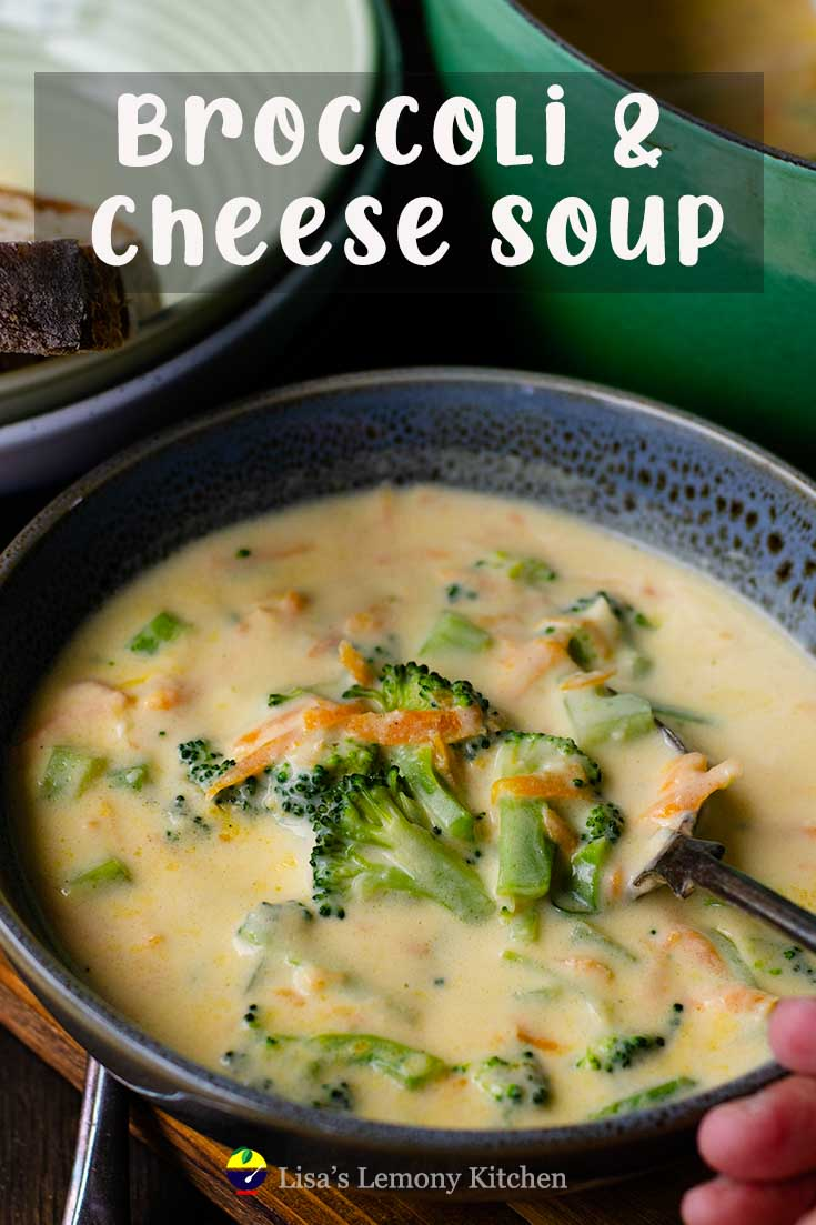 Easy Broccoli Cheese Soup is a creamy comfort in a bowl with tender broccoli pieces, grated carrots and sharp mature cheeses.