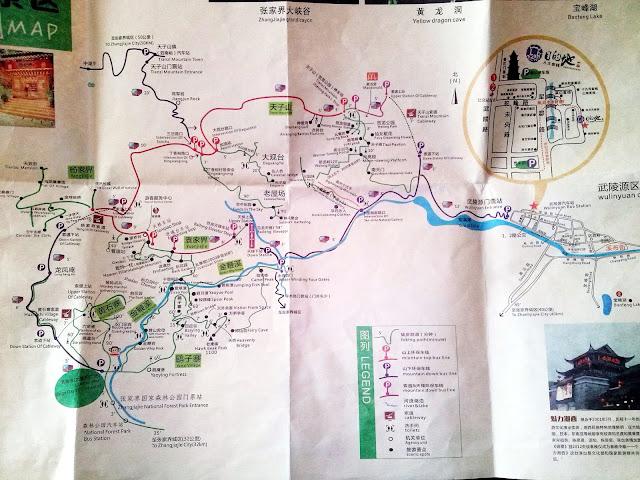 Mapa del Parque Nacional de Zhangjiajie del Destination Youth Hostel, Wulinyuan, China