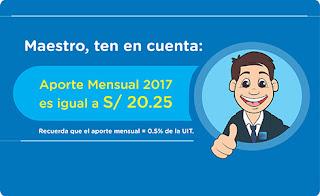 Aporte mensual del maestro asciende a S/ 20.25 este 2017