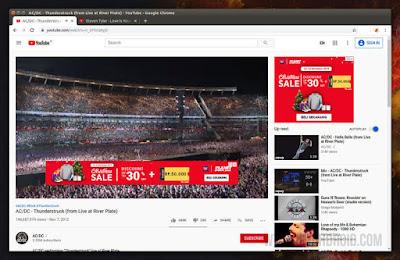 Tampilan YouTube dengan Iklan