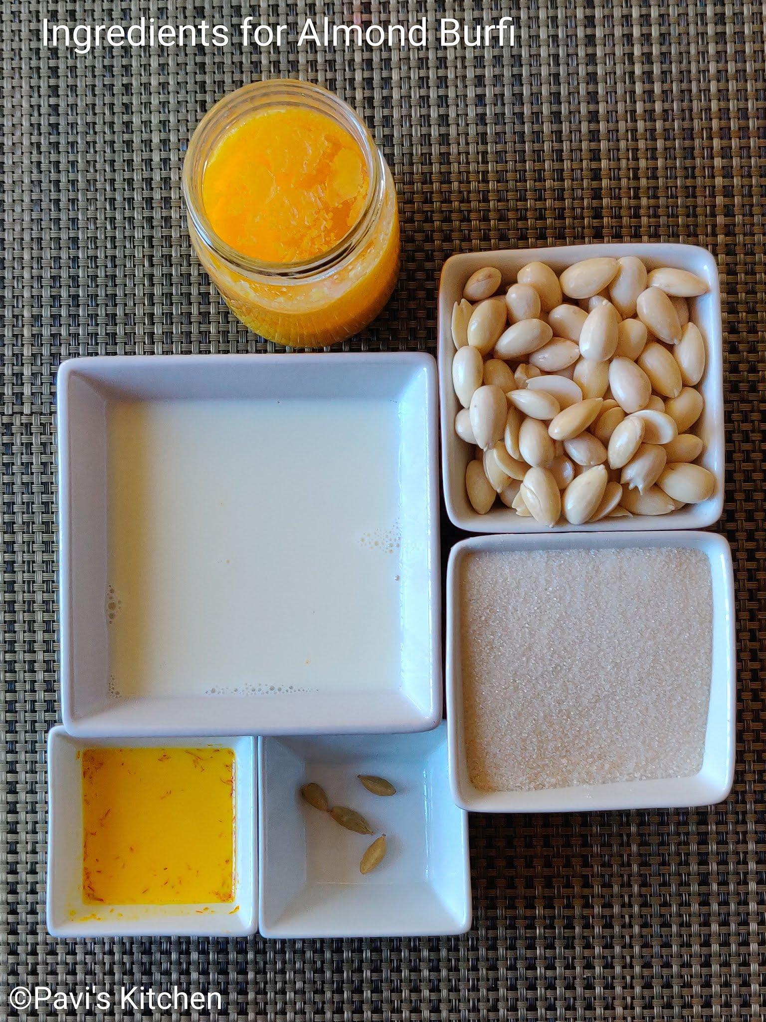 kesar badam burfi recipe | badam katli recipe | almond burfi recipe | almond katli recipe