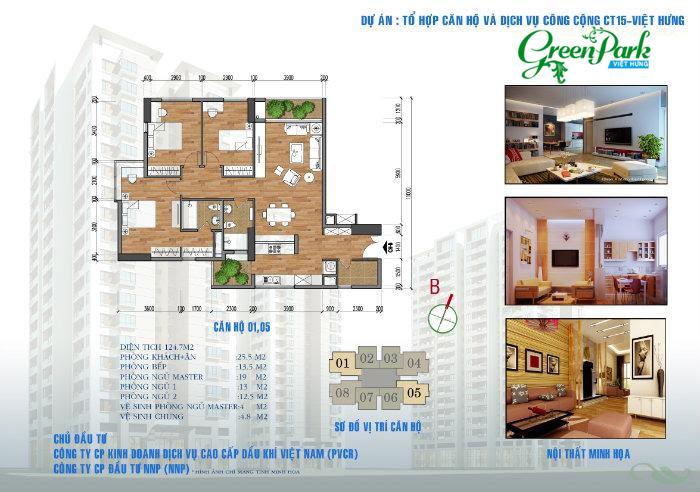 Mặt bằng căn hộ 01 – 05 chung cư Việt Hưng Green Park