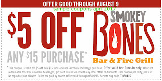free Smokey Bones coupons april 2017
