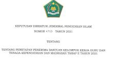Daftar Nama Penerima Bantuan KKG dan Tendik Madrasah Tahap II Tahun 2021