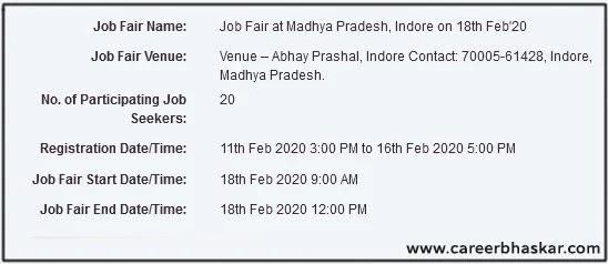 Job Fair, Indore (M.P) | 18th Feb 2020 |