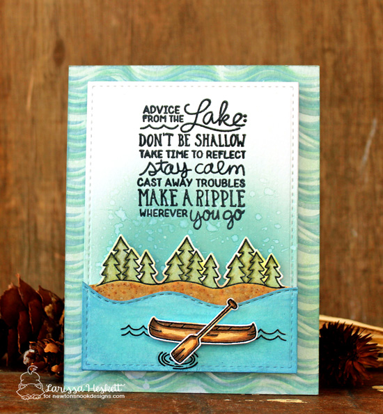 Advice from the Lake Card by Larissa Heskett | Lake Advice Stamp Set  & Waves Stencil by Newton's Nook Designs  #newtonsnook