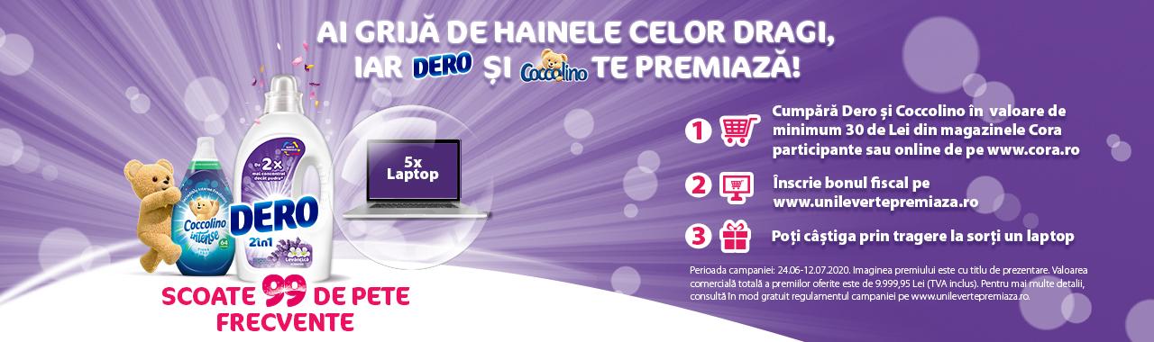 Promotie Cora - DERO si Coccolino te premiaza - Castiga laptopuri de ultima generatie - castiga.net