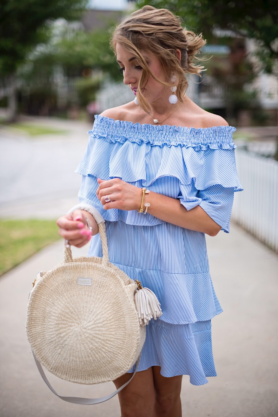 Blue & White OTS Ruffle Dress - Click through to see more on Something Delightful Blog!