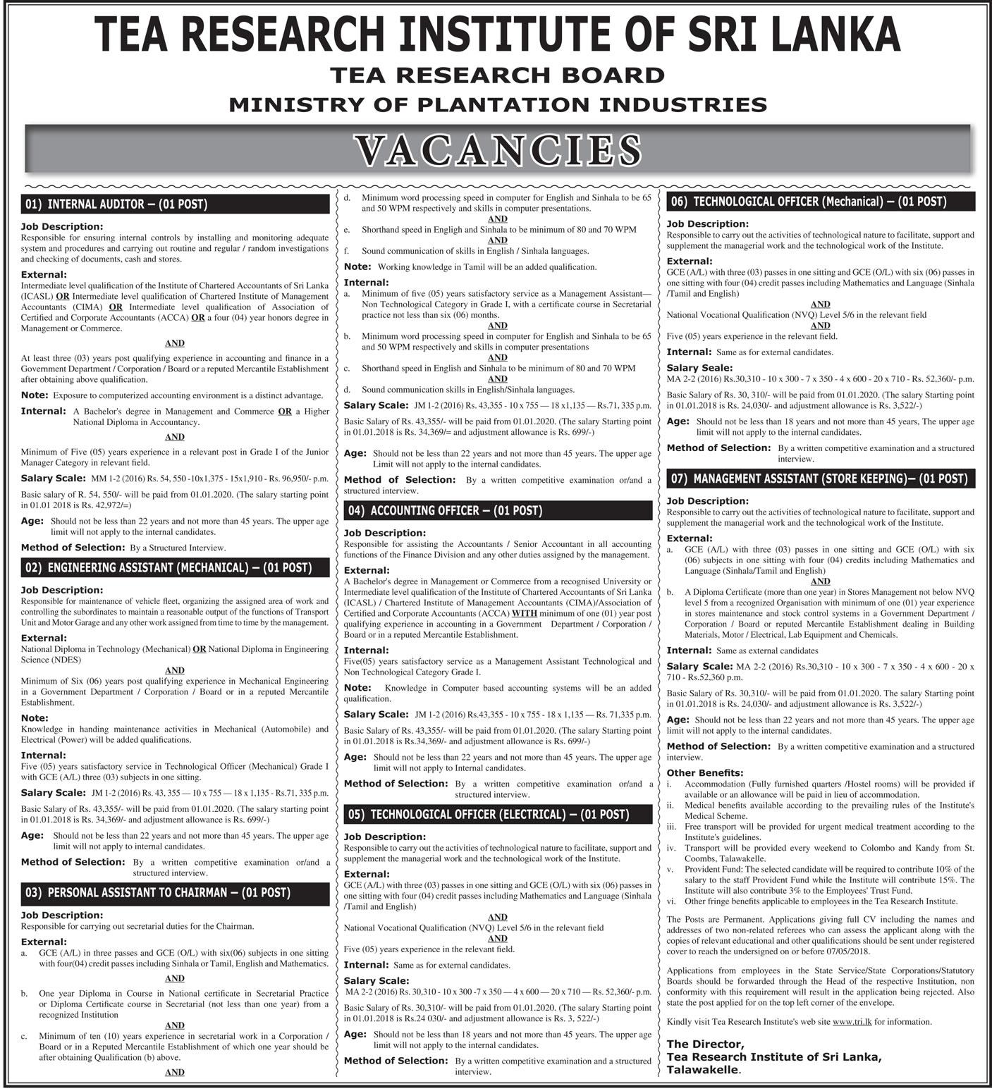 Tea Research Institute of Sri Lanka Vacancies