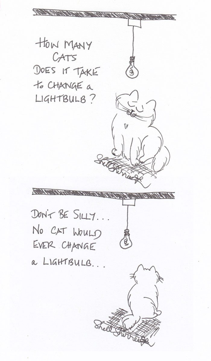 How Many Cats to Change a Lightbulb cartoon © Shell Sherree all rights reserved