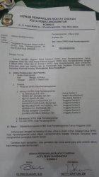 Surat pengajuan kunjungan kerja anggota DPRD Pematangsiantar ke Bali