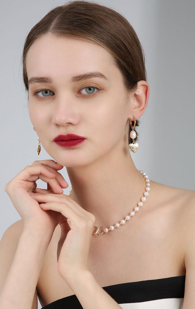復古風智慧之眼淡水真珍珠耳環
