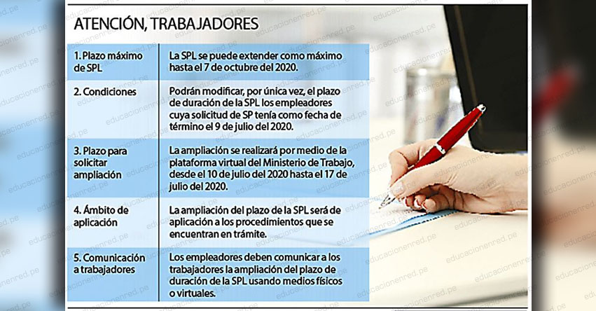 Establecen nuevo plazo máximo para suspensión perfecta de labores vencerá el 7 de octubre