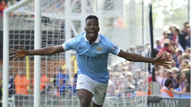 Kelechi Iheanacho celebrates scoring for Manchester City