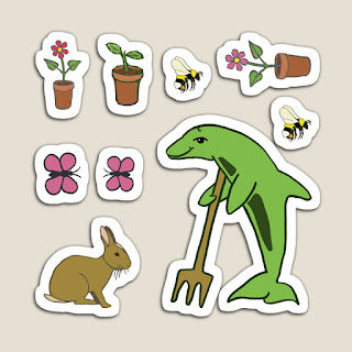 Stickers of a Gardening Dolphin, Bees, a rabbit, butterflies and a pot plant